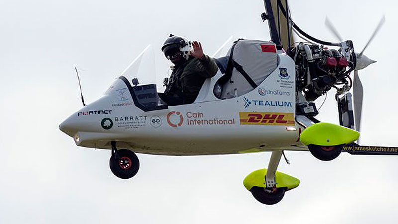 Gyrocopter adventurer flies over coldest place on Earth