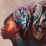 Nigerian artist creates realistic oil portraits incorporating colourful local fabrics