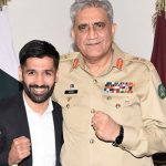 COAS Bajwa meets boxer Muhammad Waseem at his office