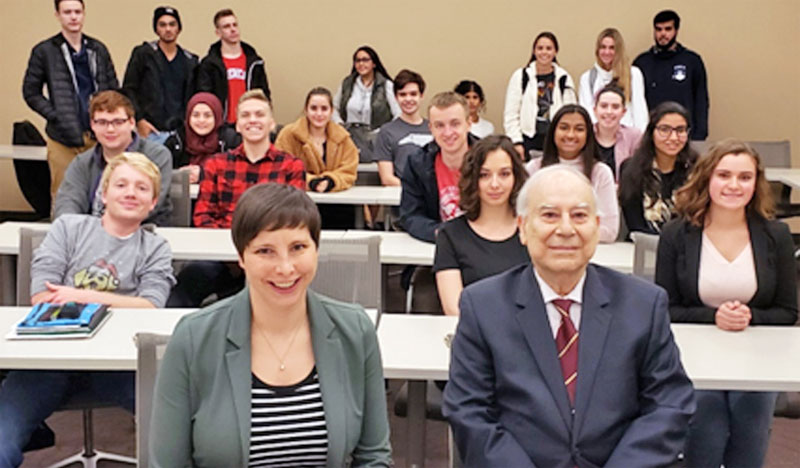 Dr. Akbar Ahmed, Director of Religious Education Stephanie Tankel, and Scarlett Stevens after Mrs. Tankel's presentation to the World of Islam class at the Washington Hebrew Congregation.