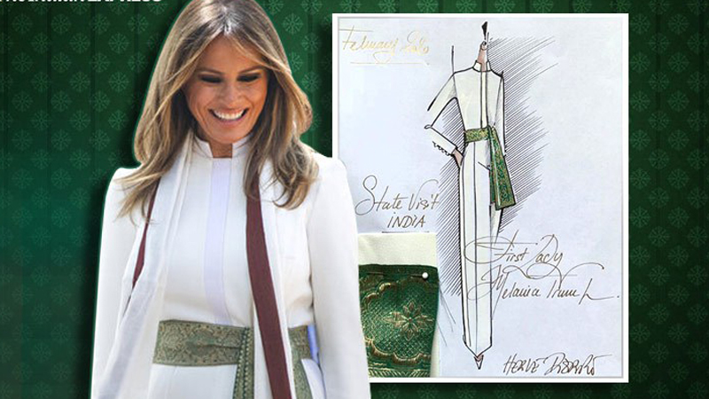 Melania sports a sash that could very well be Banarasi zardozi