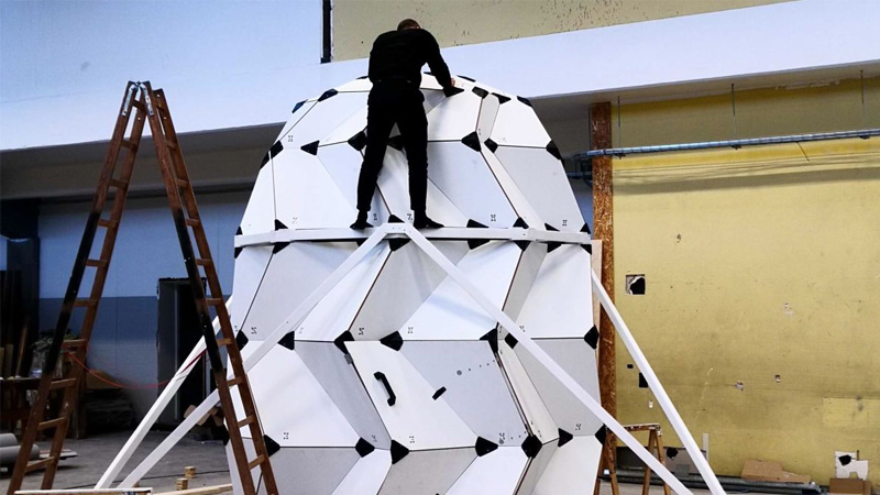 Origami-inspired expanding lunar module set for testing in Greenland