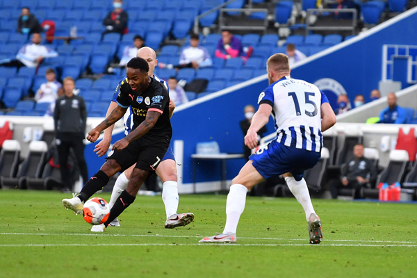 Sterling scores hat-trick as Man City thrashes Brighton 5-0