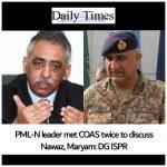 PML-N leader Zubair met COAS twice to discuss Nawaz, Maryam: DG ISPR