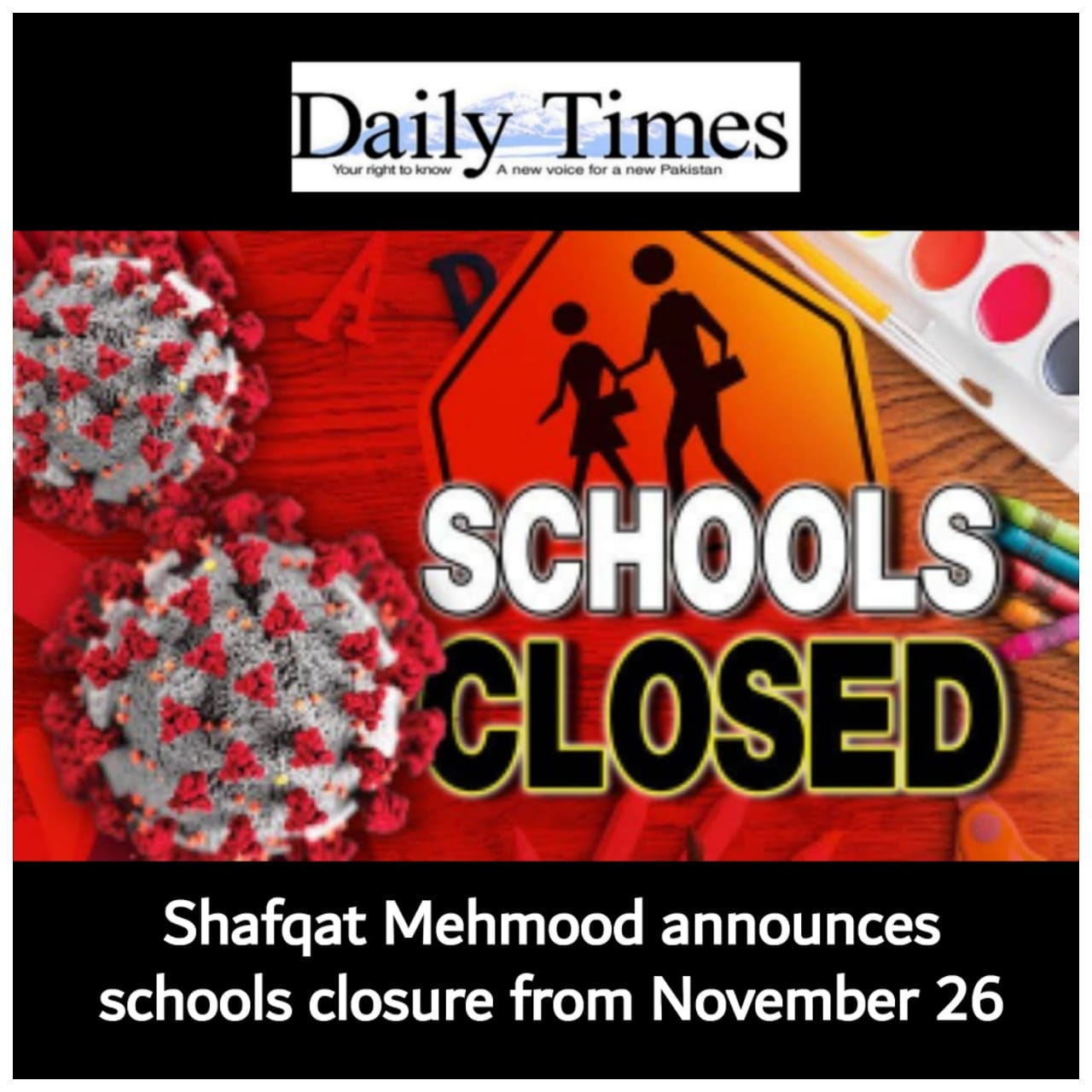 Shafqat Mehmood announces schools closure from November 26