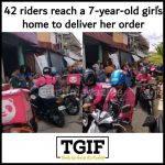 42 FoodPanda delivery riders reach 7-years-old girl's home to deliver her order