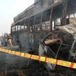 13 die, 17 injured as bus, van catch fire after collision