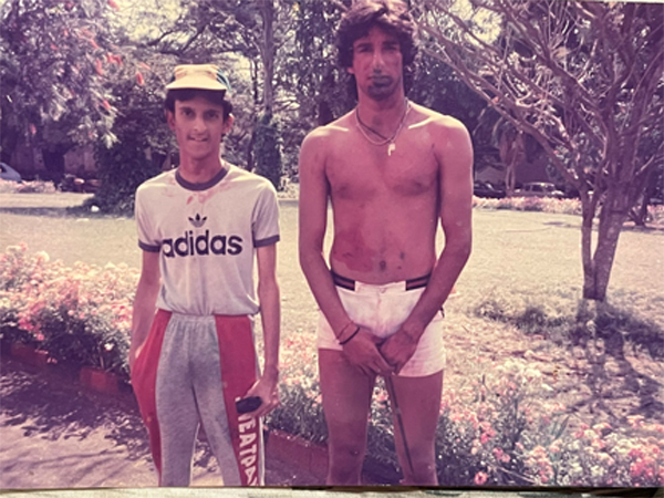 An old picture of Wasim Akram celebrating Holi in India in 1987 goes viral