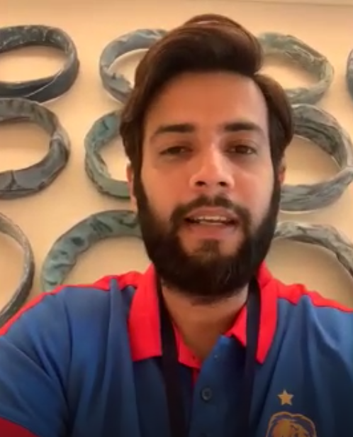 Imad Wasim talking to a group of Pakistani journalists from Abu Dhabi in an online press conference. Screenshot/ Saad Ahmed