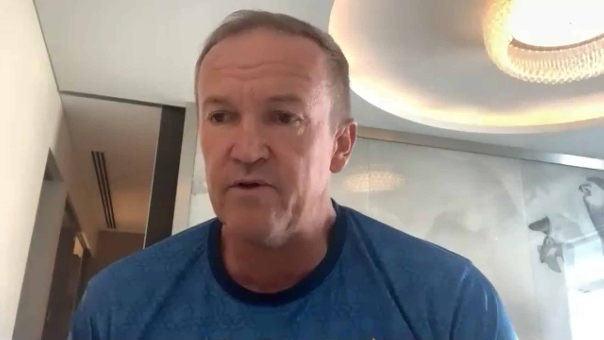Andy Flower in an online Press conference. Screenshot/Saad Ahmed.