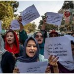Afghans protest outside shuttered women ministry