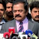 Rana Sanaullah addresses a press conference in Lahore