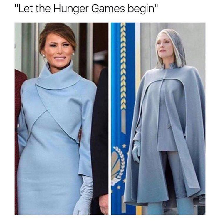 Hunger Fans Made A Meme That Compared Melania S Dress To The Villainess Character Of President Coin In Series